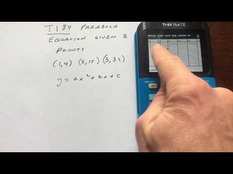 Parabola Equation Given 3 Points Ti84