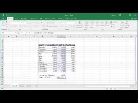 How to Calculate Conditional Sum of a Range of Cells using Single Criterion in Excel 2016