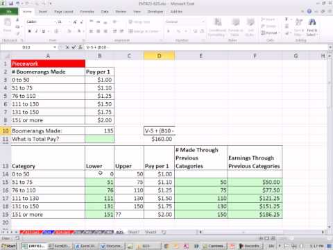 Excel Magic Trick 825: Variable Rate Tables: Commission, Piecework & Tax Examples