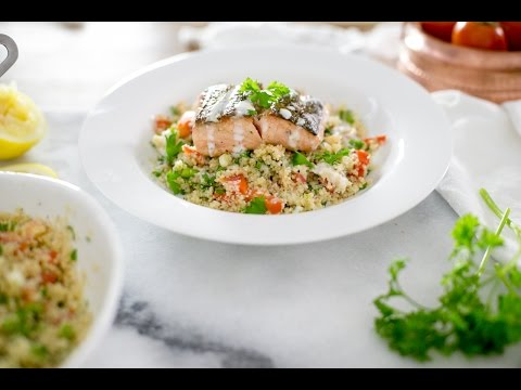 Couscous Tabouli with Crispy Salmon