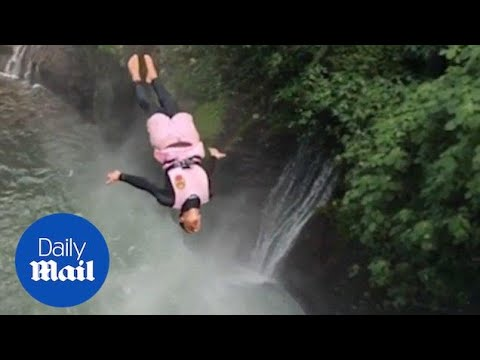 Daredevil divers jump off biggest waterfall cliffs in Costa Rica - Daily Mail