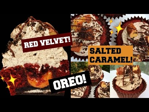 How To Make Red Velvet & Oreo Cupcakes {FILLED WITH SALTED CARAMEL!}