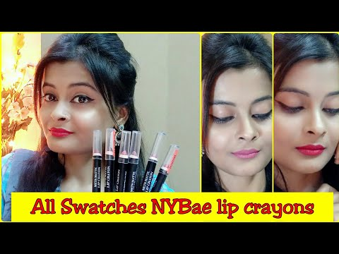 *All colours Swatches* NY Bae mets matte lip crayons | Review | India's cheapest matte lip crayons