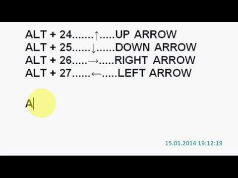 How to insert a arrow with the keyboard in Microsoft Word