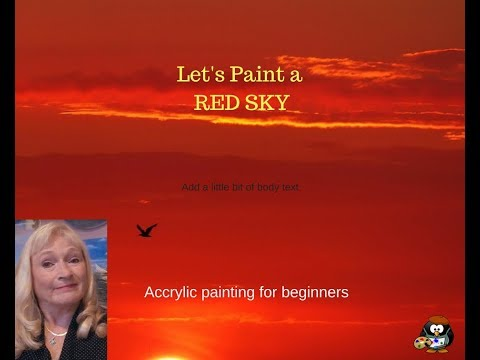 How to Paint an easy RED sky with acrylic paint for the Beginner in 7 minutes