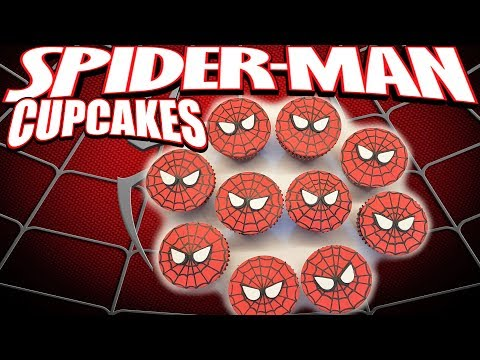 COMO HACER CUPCAKES SPIDERMAN  HOW TO MAKE SPIDERMAN CUPCAKES