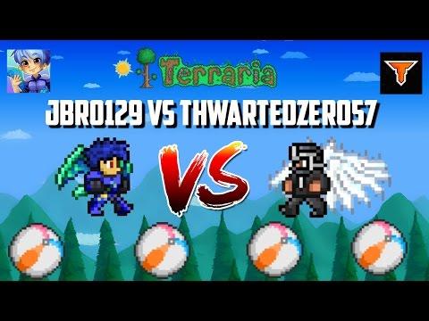 Jbro129 vs. ThwartedZero57 Beach Ball Rally!!!! | Crazy Terraria game