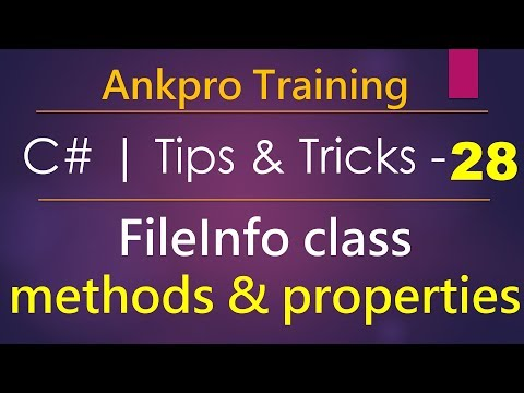 C# tips and tricks 28 - FileInfo class | How to Create, Copy, Move, Rename and delete a file in C#