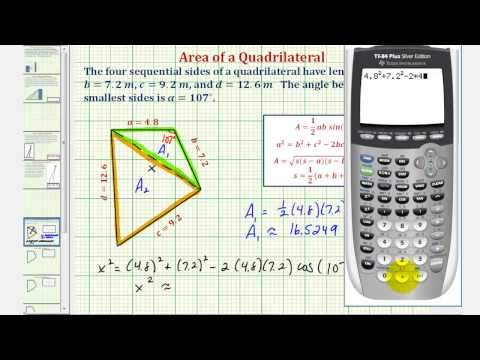 Ex: Find the Area of a Quadrilateral Using Law of Cosines and Heron's Formula