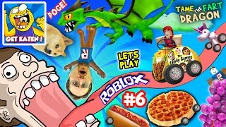 ROBLOX #6: GET EATEN...by DOGE? + Fart Dragon Taming! (Fast Food on Wheels is Yummy Nummy!)
