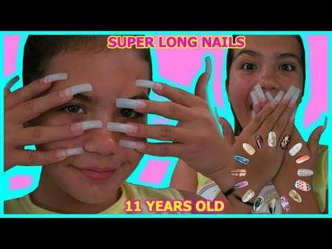 11 YEAR OLD GETS SUPER LONG ACRYLIC NAILS FOR THE FIRST TIME