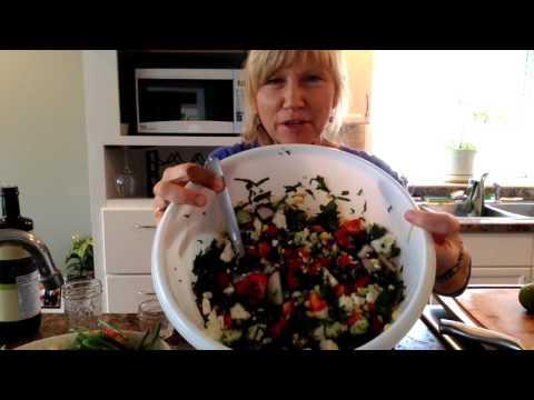 Kale corn & black bean salad with Lime Paprika Dressing.