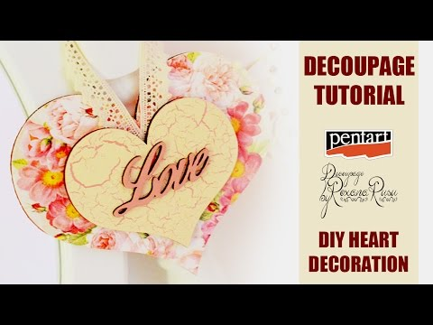 DECOUPAGE for beginners- how to decoupage on wood - Decoupage Tutorial  DIY heart decoration