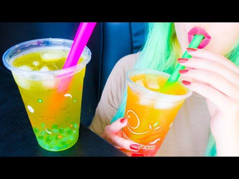 ASMR: Kiwi & Peach Boba Bubble Tea | Crushing Pearls & Taste Test ~ Relaxing Drinking Sounds [V] 😻