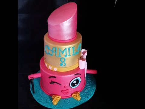 HOW DO I MAKE A SHOPKINS LIP CAKE,  COMO HACER UN PASTEL DE COLORETE SHOPKINS