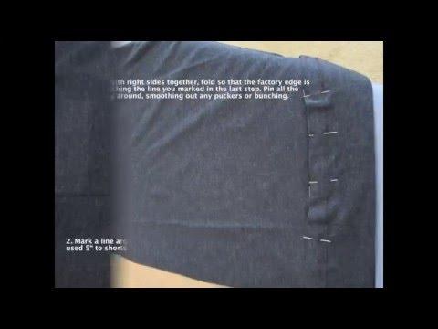 How to shorten a T-shirt keeping the factory hem
