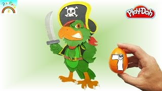 The Best Play doh Creation  (Pirate Parrot) Surprise eggs opening.