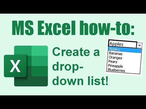 Excel: create a drop down list