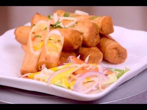 Tortilla Cigars - Quick & Easy Starter - Veg Crispy Rolls Appetizer Recipe