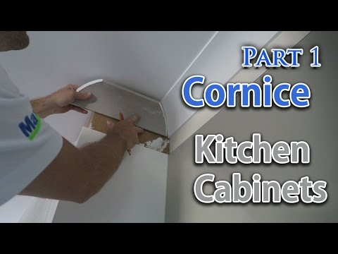 Install cornice above kitchen cupboards