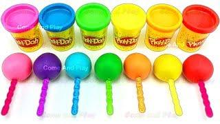 Learn Colors Play Doh Lollipops ELMO Peppa Pig Paw Patrol Disney Princess Molds Surprise Toys Kids