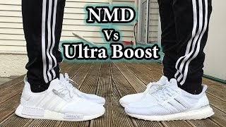 c06ac2f5059 Triple White Comparison - NMD vs Ultra Boost | On Feet Looks