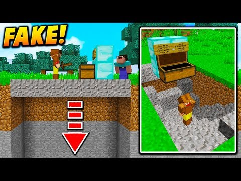 FAKE CHEST FLOOR TROLL! - Minecraft TROLLING (GRAVEL GLITCH!)
