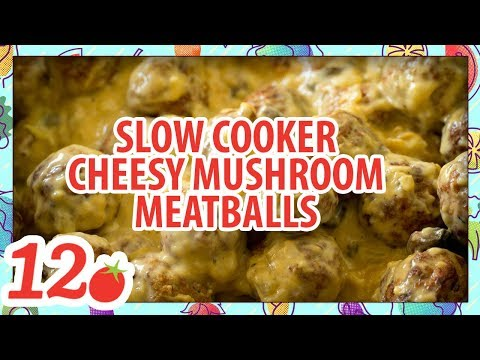 Slow Cooker Cheesy Mushroom Meatballs