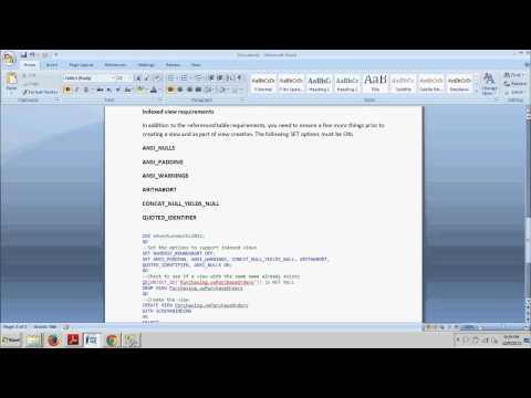 SQL Server tutorial 56: How to create an indexed view