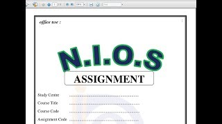 Nios D El Ed Assignment Front Page Sample copy    how to
