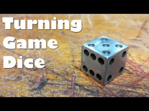 Scrap Project - Turning Game Dice! Making a six side cube (D6) die on the mini lathe!