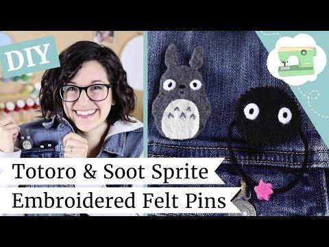 DIY Totoro & Soot Sprite Pins - Studio Ghibli Embroidered Brooches   @laurenfairwx