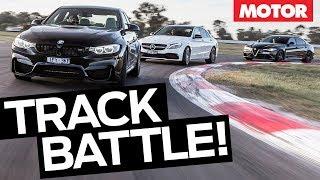 Alfa Romeo Giulia QV vs BMW M3 Competition vs Mercedes-AMG C63 S comparison review | MOTOR