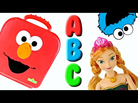 Elmo On The Go Letters with Play Doh! Learning Alphabet ABC Cookie Monster Frozen Sesame Street Toys