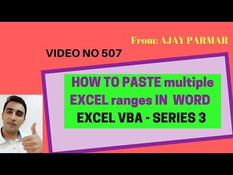 Learn Excel - Video 507-  VBA - How to paste excel multiple ranges in Word- Series 3