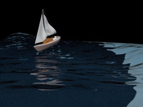 3D Max Boat on Water with Animated Waves