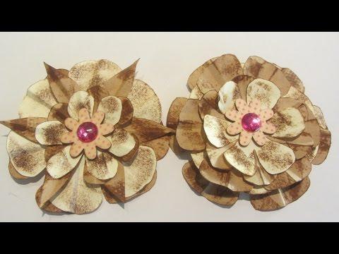 How to Make Paper Bag Flower Embellishments Craft Tutorial