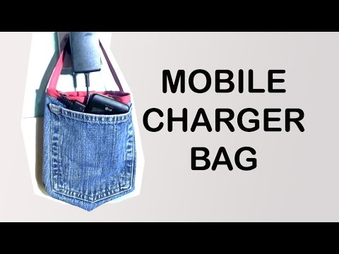 Recycled Jeans Mobile Charger Bag / Easy DIY Bag / Jeans pocket Bag / DIY Bag Vol 13