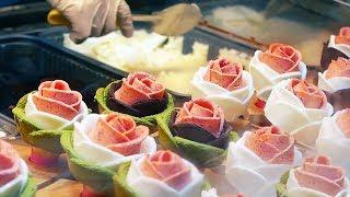 Download Korean Street Food - DRAGON BEARD CANDY, ROSE ICE CREAM, STEAK, ABALONE Video