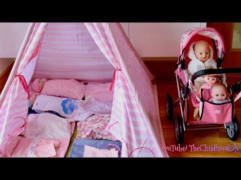 Baby Dolls Teepee Tent Bedroom  Nursery Center & Dolls Pram Baby Annabell Baby Born Nursery Rhymes