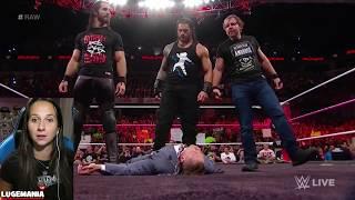WWE Raw 10/9/17 The Shield Triple Powerbombs the Miz