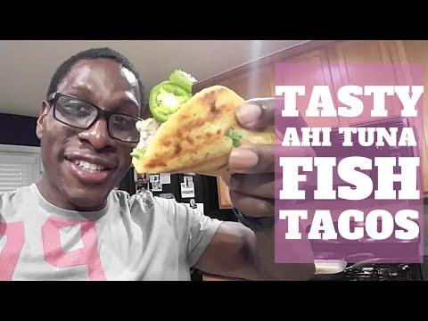 The Best Ahi Tuna Steak Fish Taco Recipe Dress w/Spicy Sriracha Sauce and Key Lime Juice