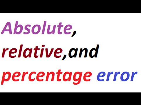 what are Absolute,,Relative  and Percentage error