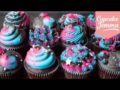 How to make Piped Buttercream GALAXY Cupcakes | Cupcake Jemma