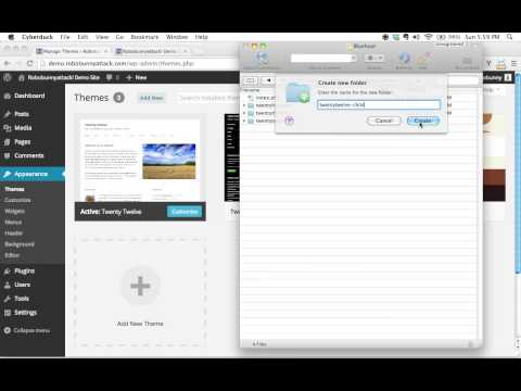 Creating a folder and stylesheet for your WordPress child theme