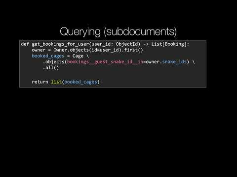MongoDB and Python Quickstart (18/21): Concept: Querying subdocuments with mongoengine