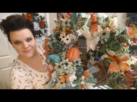 Fall Grapevine Wreath in Ivory, Blues and Orange Pumpkins