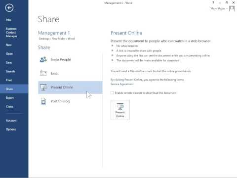 Word 2013 Use Office Presentation Service to Present a Document Online