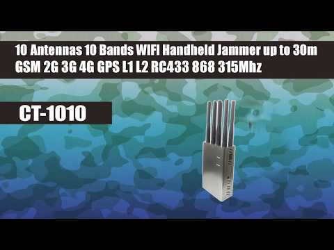 Handheld Portable Jammer 10 Antennas 10W GSM 2G 3G 4G GPS L1 L2 RC433 868 315Mhz WIFI up to 30m