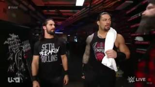 WWE Raw Dec, 12, 2016 Roman Reigns, Seth Rollins and Mick Foley backstage